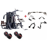 Kit Multi Estacao Prodeluxe +kit Puxadores +par Dumbell 24kg