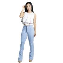 Calça Jeans Cintura Alta Hot Pants Boca Flare Sino Moda