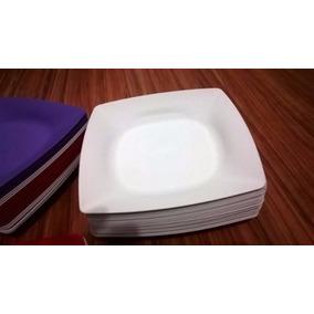 Queima De Estoque 100 Prato Branco Quadrado Plastico Rígido
