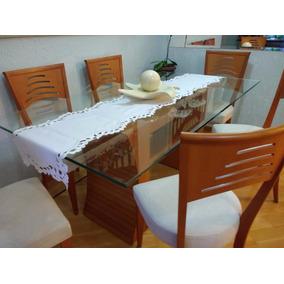 Mesa De Jantar Com Seis Cadeiras + Aparador Em Madeira
