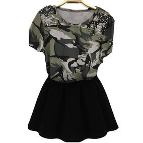 Blusa T-shirt Feminina Militar C/ Pedraria Moda 2018 Top 10
