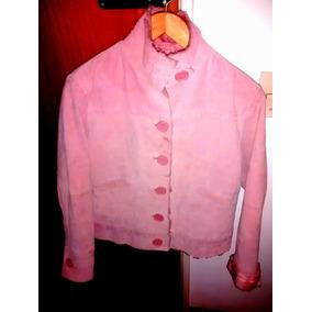 Campera De Cuero Rosa Con Piel - Importada N.y (talle S)