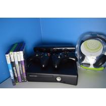 Xbox 360 Slim + Kinect + 2 Controles + 5 Jogos + Headset