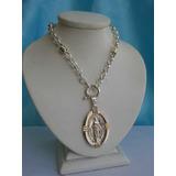 Cadena Rolo Con Medalla Virgen Milagrosa Plata Y Oro