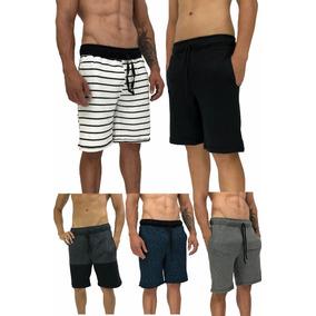 5 Bermuda Masculina Moletom Slim Fit Moleton Shorts Original