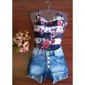 Conjunto Crooped Body Aberto Decotado +short Jeans Balada