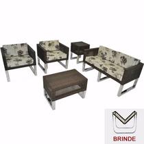 Jogo Conjunto De Sofa Cadeiras Poltronas Para Jardim Varanda
