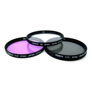 Kit 3 Filtros 67mm Uv + Polarizador + Fld Estuche Multicapa