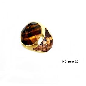 Semi Jóia Anel Com Pedra Olho De Tigre Natural N°20