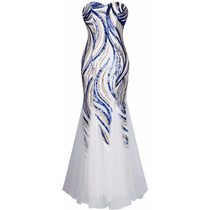 Vestido Longo Azul Festa Formatura Batizado Madrinha Paetês