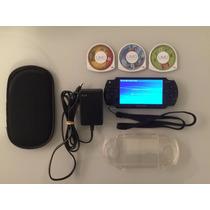 Psp Slim 2001 Sony Bateria 3 Jogos Originais E Capas