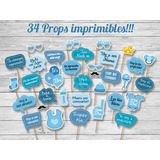 Props + Juegos Imprimibles Baby Shower, Photo Booth Carteles
