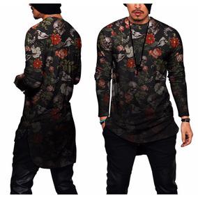 Camisa Oversized Longline Camiseta Blusa Swag Kings Floral