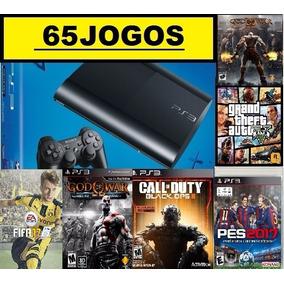 Ps3 Slim 320 Gb + 65 Jogos Originais No Hd + Pes18