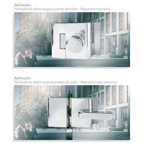 Fechadura Elétrica Para Porta De Vidro Agl Cromada