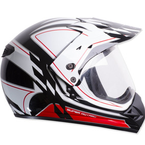 Capacete Moto Ebf Super Motard Gride Cross 58 Preto Branco