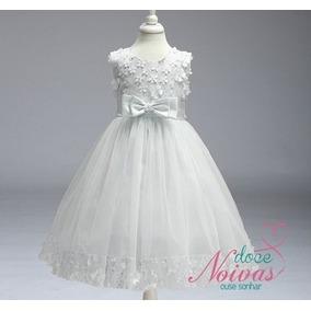 Vestido De Daminha Aia Florista Off White
