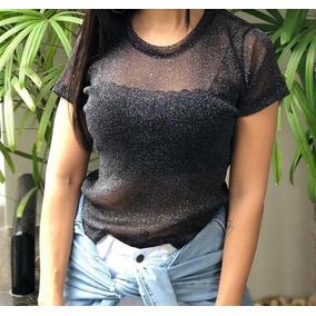 Blusa Tshirt Lurex Preta Brilho Balada Moda Instagram