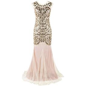Gatsby Mujer 1920s Dorado Beige Prettyguide Vestido Noche