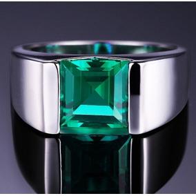 Anel Homem Prata 925 Pedra Verde Esmeralda Natural Elegante