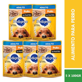5 Sobres Pedigree Alimento Adulto Sabor Pollo En Filete 100g