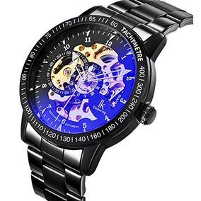 Gute Casual Mens Black Steel Esqueleto Automático Reloj D...
