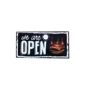 Cartel De Chapa Cuadro Vintage Open Burger - Desillas