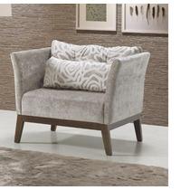 Poltrona Cadeira Decorativa Atlanta Tecido Pés Em Madeira