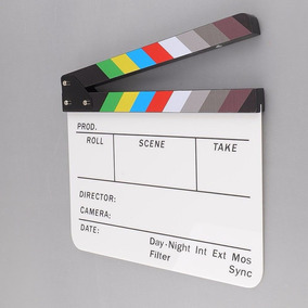 Claquete Cinema Profissional Branca Colorida Com Nota Fiscal
