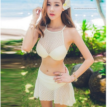 Hermoso Bikini Mujer Vintage Push Up + Falda Color Crema