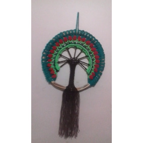Mandala Árbol De La Vida De Lana En Aro De Minbre De 30 Cm