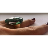 Anel Semi-jóia Banhado Ouro Pedra Esmeralda Oval Sextavada