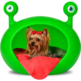 Casa Cães Monster Cave Verde Almof Vermelha Guisa Pet