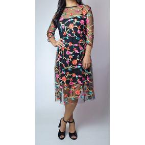 Vestido Flores Bordado Mexicano Transparencias Envío Gratis