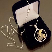 Medalha São Jorge Prata 925 + Banho Ouro Pingente + Corrente