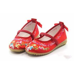 Zapatos Niñas Flat Bordado Danza Ballerina Ballet Primavera