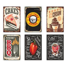 Placas Decorativas Cafe Comida Restaurante Retro Bebidas