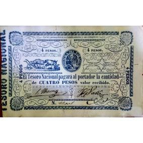 Billete De Paraguay - 4 Pesos ( 1865 ) - Época Solano Lopez