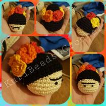 Llavero Cabeza Frida Kahlo Amigurumi Tejido A Crochet