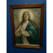 Cuadro Antiguo. Virgen María. Marco De Cedro