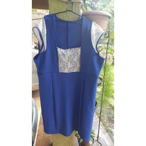 Vestido Azul Renda Tam 58