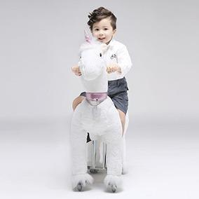 Caballo Pony Montable Unicornio Ruedas Camina Dorad Edad 3-9