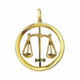 Pingente Signo De Balança Ouro Com Pedra Natural Ref 00051