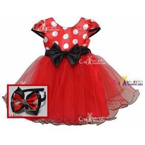 Vestido Infantil Festa Minnie Com Tiara De Brinde 1 Ao 12