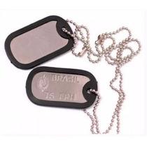 Dog Tag Militar Exército Placa Identificação Colar Cordão
