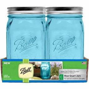 Set De 8 Frascos Ball Mason Jar Color Azul 32oz Boca Ancha