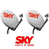 Kit 2 Antenas 60cm Sky + 2 Lnbf Simples + 2 Cabos 10 Metros