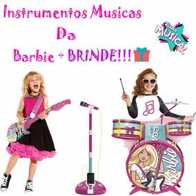Bateria Barbie + Microfone Barbie + Guitarra Barbie + Brinde