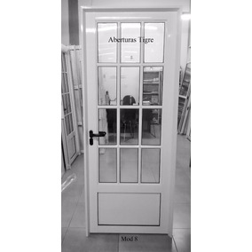 Puerta De Aluminio 0.80 X 2.00 Mts 3/4 Vidrio Repartido