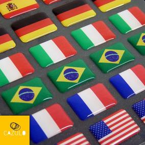 Adesivo Bandeira Brasil Países Estados Placa Carro Kit 4pçs